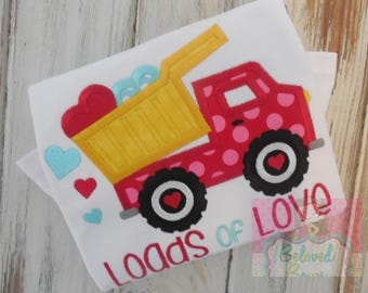 Applique Valentine's Day Girly Dump Truck Shirt, Personalized, Valentine Party Shirt, Heart Truck