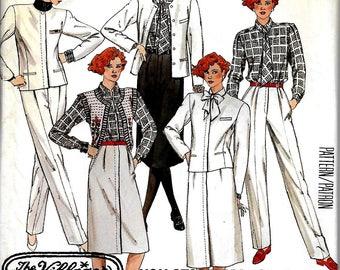 McCall's 2798  Misses  Lined Jacket, Skirt, Blouse, Tie, Pants    Size 12    Uncut