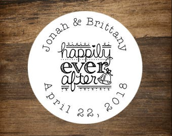 "Custom wedding stickers, set of 30, personalized favor labels. 1.5"" round stickers, bridal shower, party favor stickers, Happily Ever After"