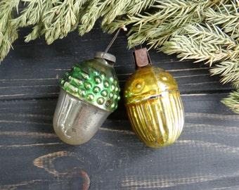Acorn Christmas Glass Ornament set of 2 Oak Tree acorn Soviet Christmas tree holiday decorations Yellow Mercury glass nut made in USSR 1950s