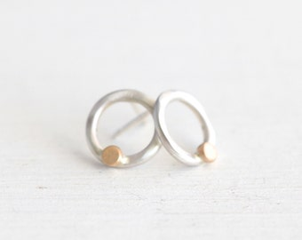 Sterling Silver and 14k Gold Circle Earrings- Silver Post Earrings - Modern