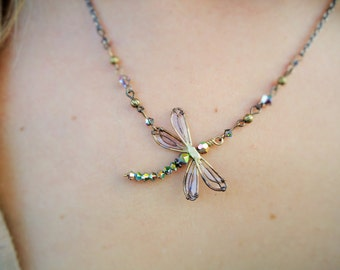 Necklace Dragonfly, Handmade Women's Jewelry, Swarovski Crystal Necklace Dragonfly, Birthday Gift Dragonfly, Bride's Maid Gift,