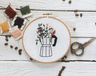 Moka Pot Embroidery // Coffee Embroidery // Coffee Brewing Embroidery // Embroidery Design // Floral Embroidery