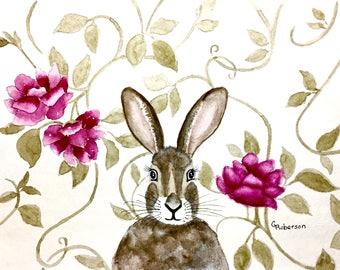 Victorian rabbit/hare, original watercolor 8x10 inches