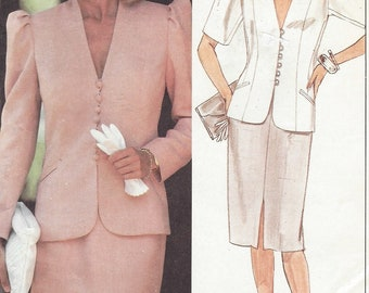 1980s Linda Evans Princess Seam Jacket and Pencil Skirt Dynasty Patterns McCalls Sewing Pattern 9423 Size 14 Bust 36 FF Vintage Patterns