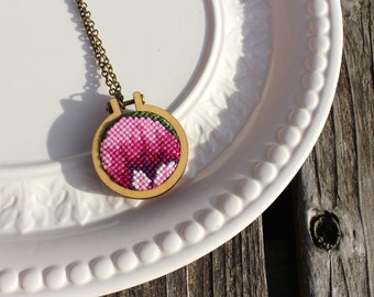 Handmade Fuchsia Purple Vintage Cross Stitch Pendant Necklace. Stitched Antique Needlework Embroidery Hoop. One of a Kind. Ready to Ship.