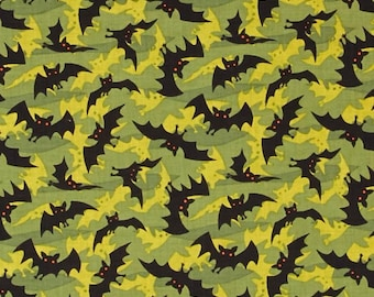 Halloween Bats on Olive Green From Clothworks Fabric's Haunted Hills Collection