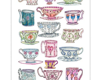 Tea Cups Kitchen Wall Art Kitchen Decor Teacups Giclee Print Bright Watercolour Painting Art Print Illustrated Teacup Poster Chart Colourful