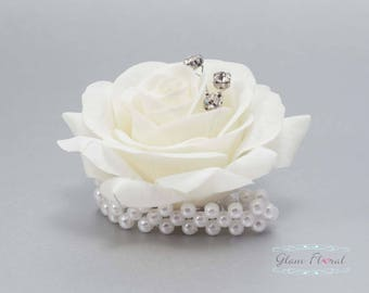 Child's Wrist Corsage. Small Cream White Rose w. rhinestones, pearls.  Flower girl bracelet. Father Daughter Dance. Tea Rose Collection