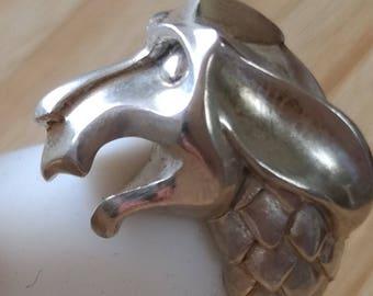 Gargoyle ring sterling silver snake pattern