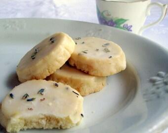 2 Dozen Lavender Shortbread Cookies with Lavender Glaze