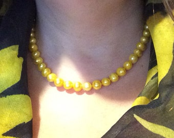 Buttercup Yellow Pearl Necklace with Gold Plated Sterling Silver Toggle Clasp