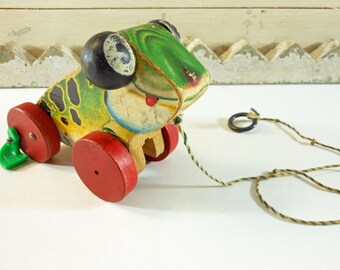 Fisher Price Jolly Jumper Wooden Frog Pull Toy From 1949