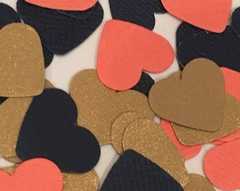 Navy Coral And Gold Confetti