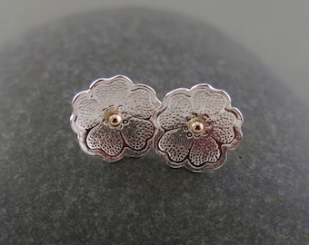 Little Flower Studs in Sterling Silver with 14K Gold Accents