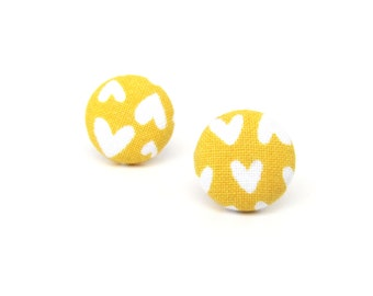 Mustard yellow stud earrings - fabric button earrings - tiny hearts bright funky - birthday gift - present for her - anniversary gift