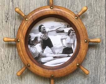 Vintage Ships Wheel Picture Frame With Vintage Boating Photos - Ready for Your Nautical Decor