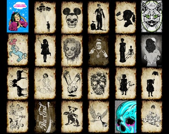 Set of postcards of your choice,postcards,creepy postcards,zombies,art,Skulls,Mickey,dog,Marilyn,Unicorn,Frankenstein