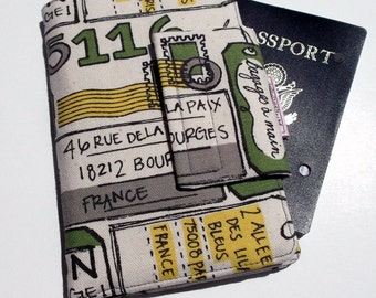 Passport Wallet with Travel Journal Smart Phone Wallet Grey Multi color Travel to France print, Ready to Ship