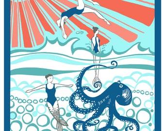 Mermaids - synchronized swimming synchro postcard