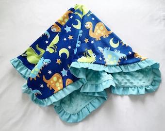 Baby Blanket Dinosaurs Minky Corduroy Ruffle Medium Size Blues Green Brown