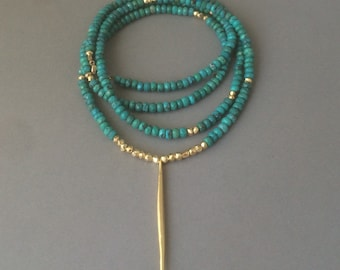 Turquoise Stone with Gold Dagger Beaded Necklace also available in other Stones