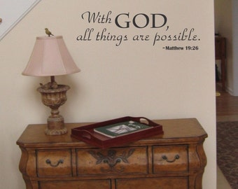 With God All Things Are Possible wall decal removable sticker