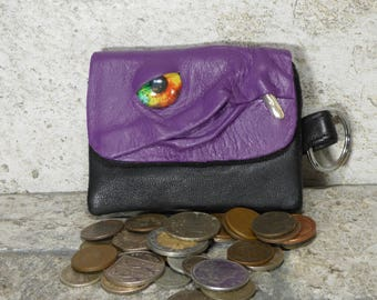 Zippered Coin Purse Purple Black Leather Change Purse Monster Face Pouch Key Ring Harry Potter Labyrinth 41