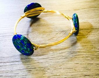 Blue Green Azurite stone bangle bracelet
