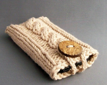iPhone 6/7 and earlier Case Samsung Galaxy s series and Note Cozy Sleeve Camel Light Brown Handmade Coconut Button Crocheted Button Loop