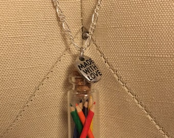 Colored Pencils in a Bottle Necklace