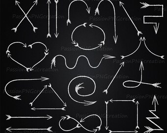 Arrows Clip art,  Arrows Alipart, Chalkboard white arrows, Chalkboard clip art, doodle clipart, Personal and Commercial Use