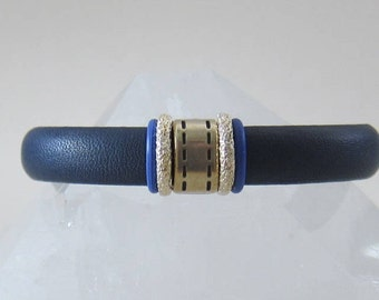 Blue Vegan Leather Bracelet with Silver Slide