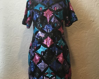 Vintage Dress- Gorgeous Sequins 80's Dress