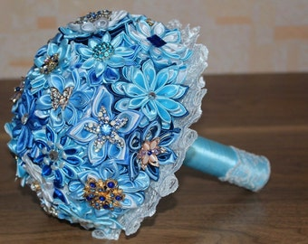 Fabric brooch bouquet,blue wedding bouquet,brooch bouquet, bridal bouquet. Wedding. Beautiful brooch bouquet, blue boutonniere, wedding set.