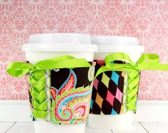Paisley Cup Cozy // Harlequin Paisley Cup Cozy // reversible // adjustable // coffee cozy // to go cup cozy // beverage cozy // cup sleeves