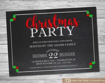 Christmas Invitation / Christmas Party Invitation / Chalkboard Invitation / Holiday Party Invitation / Digital Holiday Invitation