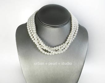 Pearl Choker Necklace Mother of the Bride Adjustable Clasp Swarovski Pearl Multi Strand