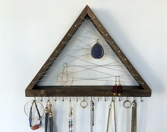 Hook Earring-Necklace Organizer / Jewelry Organizer / Earring Holder / Bracelet Display / Metal and wood Jewelry Organizer / Jewelry Display