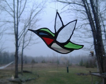 ruby humming bird stained glass suncatcher
