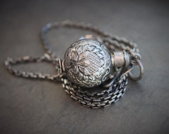 Rare Chinese Bottle Locket and Chain / Silver Dragon and Lotus Ball Locket / Vintage Chinese Jewelry
