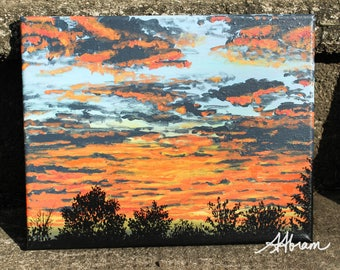 Sunset clouds silhouette, original acrylic painting