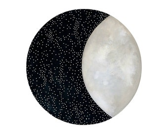 Moon and Stars 12 - Archival 8x8 Art Print - Contemporary Watercolor Painting - Astronomy, Night Sky - by Natasha Newton