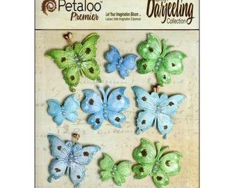 Set of 9 stickers butterflies green, blue Petaloo scrapbooking embellishment *.