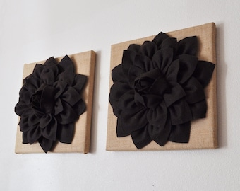 """TWO Wall Flowers -Brown Dahlias on Burlap 12 x12"""" Canvas Wall Art- Rustic Home Decor-"""