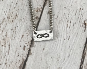 Infinity with Heart Bar Necklace, handstamped jewelry, Infinity sign with heart, anniversary, birthday, mom gift