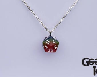 D20 Rainbow Dice Necklace, Pride Dice Necklace, dungeons and dragons dice necklace