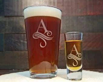 Personalized Monogrammed Glasses, Beer and Shot Glass Gift Set, Custom Engraved with Date, Monogram Gift, Gift for the Couple, Gift for Him