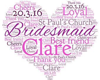 Personalised ~Bridesmaid Heart Word Art ~ Print~ A4~ Keepsake~ Any colours