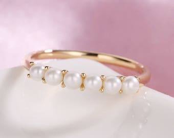 Rose Gold ring pearl ring Solid 14K gold wedding ring Dainty Pearl Jewelry Birthstone Delicate Promise Stacking Anniversary gift for women